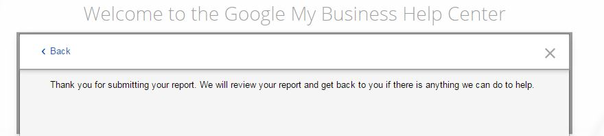 Google My Business Support - final prompt for email support